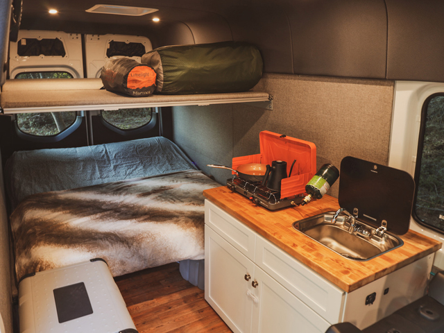 This camper van sleeps up to 5 people. Perfect for a family!